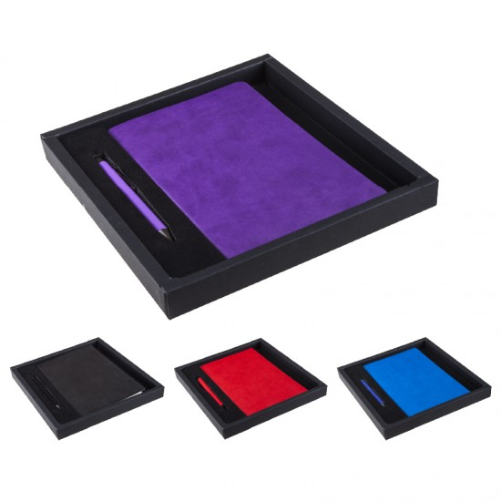 2280-K Hediyelik Set 13X21 Renkli Kenar Not Defter, Metal Tükenmez Kalem